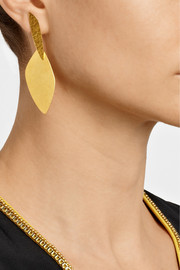 Hervé Van der Straeten Hammered gold-plated drop earrings
