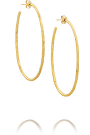 Hervé Van der Straeten Hammered gold-plated hoop earrings