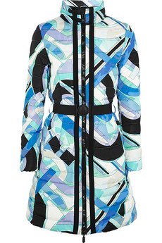 Quilted printed shell down coat