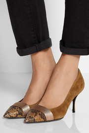 Suede and elaphe pumps
