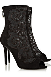 Nicholas Kirkwood Embroidered mesh and suede peep-toe ankle boots