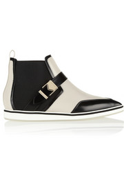 Nicholas Kirkwood Paneled leather point-toe ankle boots
