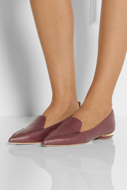 Nicholas Kirkwood Textured-leather point-toe flats