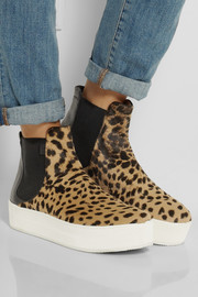 No. 21 Leopard-print calf hair and leather ankle boots