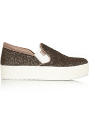No. 21 Glitter-finished canvas slip-on sneakers