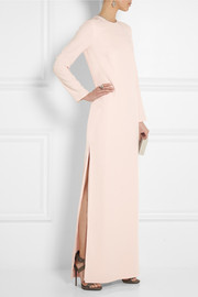 Adam Lippes Embellished silk-crepe gown