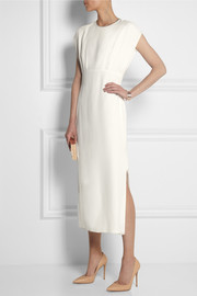 Adam Lippes Embellished chiffon-paneled silk midi dress