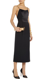 Adam Lippes Satin-paneled silk-crepe midi dress