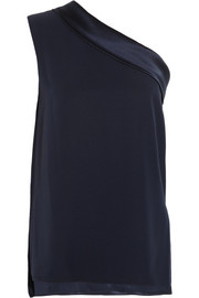 Adam Lippes One-shoulder satin-trimmed silk-crepe top