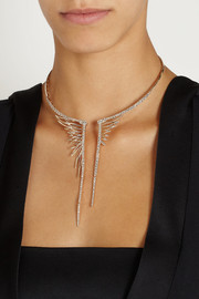 CristinaOrtiz 9-karat rose gold diamond wing necklace