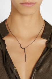 CristinaOrtiz 9-karat blackened gold diamond necklace