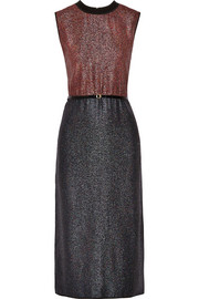 Victoria, Victoria Beckham Belted two-tone lamé dress