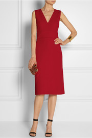 Victoria, Victoria Beckham Double-faced wool-crepe sheath dress