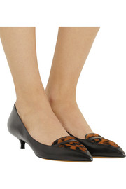 Tabitha Simmons Hallie calf hair-paneled leather pumps