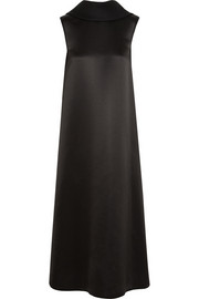 Wool and silk-blend satin midi dress