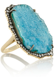 Kimberly McDonald 18-karat gold, diamond and chrysocolla druze ring