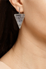 Kimberly McDonald 18-karat blackened white gold, diamond and Montana agate earrings