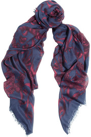 Alexander McQueen Printed modal and silk-blend scarf