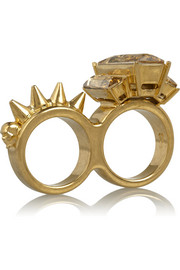 Alexander McQueen Gold-tone Swarovski crystal two-finger ring