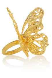 Alexander McQueen Gold-tone Swarovski crystal butterfly ring