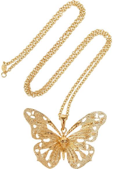 00e0fd4bf Alexander McQueen   Gold-tone Swarovski crystal butterfly necklace ...