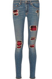 Rag & bone The Skinny distressed mid-rise jeans