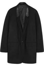 Rag & bone Camilla leather-trimmed wool blazer