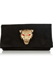 Roberto Cavalli Embellished suede fold-over clutch