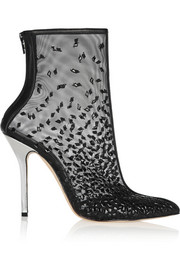 Camille embellished mesh ankle boots