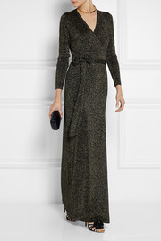 Diane von Furstenberg Emma metallic wool-blend wrap maxi dress