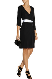 Diane von Furstenberg Satin-trimmed jersey-crepe wrap dress