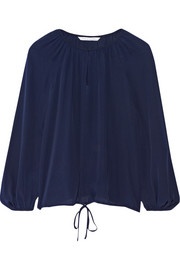 Drawstring-hem silk blouse