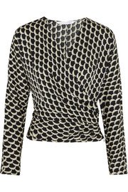 Diane von Furstenberg Printed stretch-silk wrap-effect top
