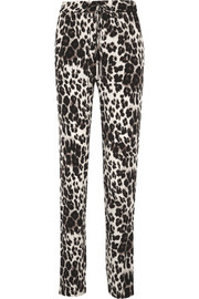 Benett Two leopard-print stretch-silk straight-leg pants