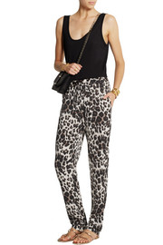 Diane von Furstenberg Benett Two leopard-print stretch-silk straight-leg pants