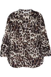Harlow animal-print silk-chiffon blouse