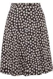 Rosalita printed stretch-silk skirt