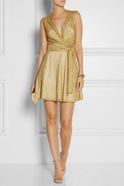 Diane von Furstenberg Metallic jersey wrap mini dress