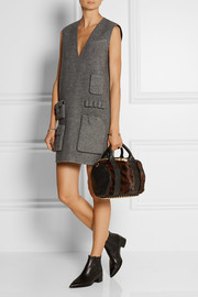 Rockie textured-leather and calf hair tote