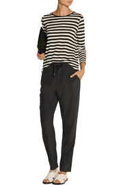 T by Alexander Wang Washed stretch-silk charmeuse track pants