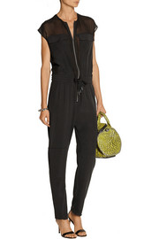T by Alexander Wang Georgette-paneled silk-charmeuse jumpsuit