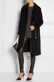 T by Alexander Wang Leather-trimmed wool and alpaca-blend coat