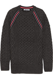 T by Alexander Wang Jersey-paneled Aran-knit sweater