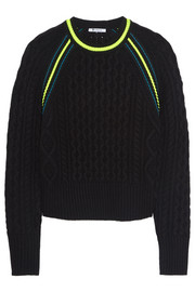 T by Alexander Wang Neon-trimmed cropped cable-knit sweater