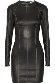 T by Alexander Wang Paneled stretch-leather mini dress