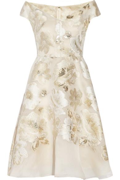 Lela Rose Metallic Fil Coupé Dress
