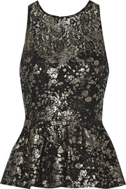 Lela Rose Metallic coated lace peplum top