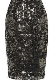 Lela Rose Metallic coated lace pencil skirt