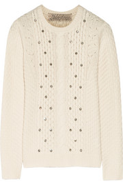 Lela Rose Embellished cable-knit wool and cashmere-blend sweater