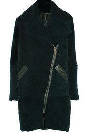 Adam Lippes Leather-trimmed shearling coat